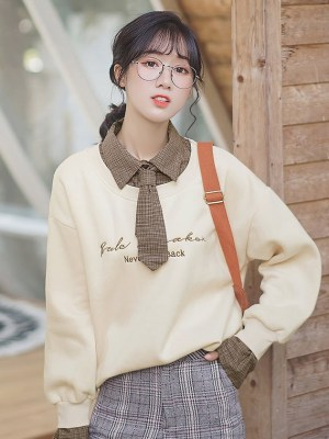 Plaid Brown Necktie Two-Piece Apricot Sweater