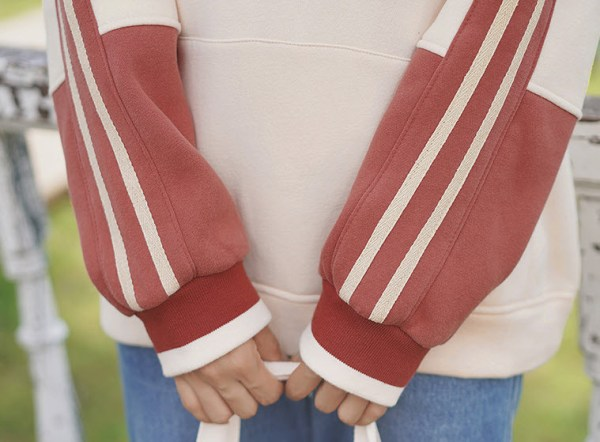Red Striped Zip-Up Sweater