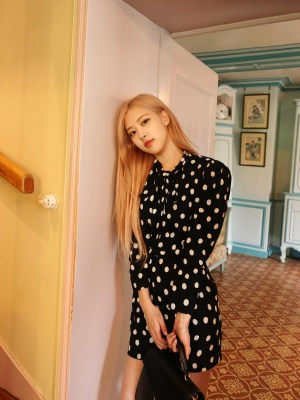 Retro Polka Dot High Collar Dress | Rose – Blackpink