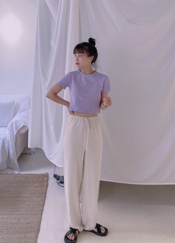 Lilac Short Sleeve Short T-Shirt | Rose – BlackPink