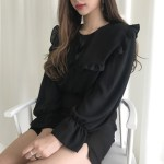 Black Ruffled Chiffon Top | Seulgi – Red Velvet