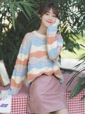 Wavy Multicolored Striped Sweater (3)
