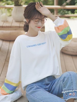 White Lithohraphies Sweater With Colorful Sleeves