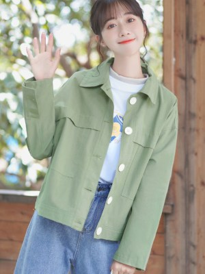 Casual Big Buttoned Green Jacket (1)