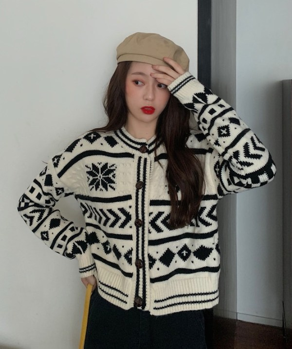 Geometric Patterned Knit Cardigan | Chaeyoung – Twice
