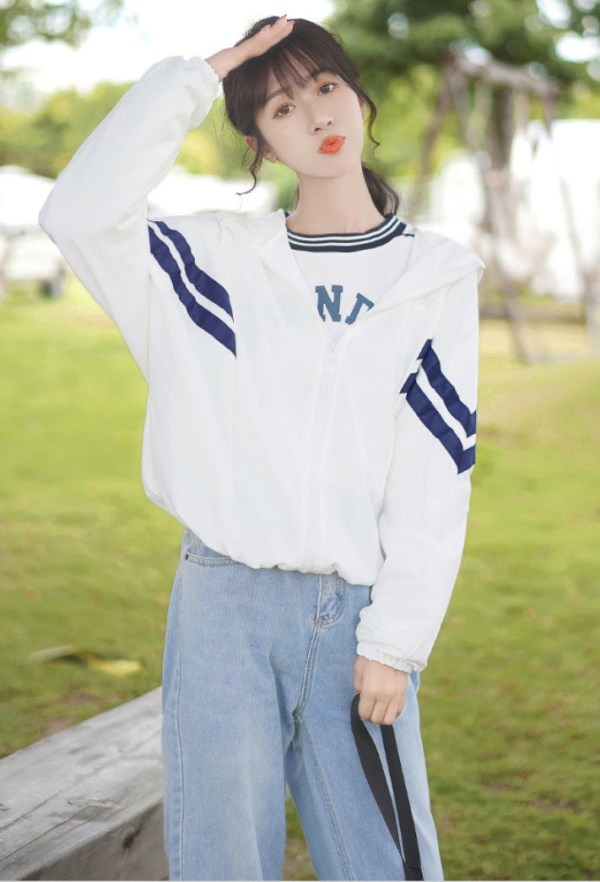 Double Blue Striped Hooded Jacket