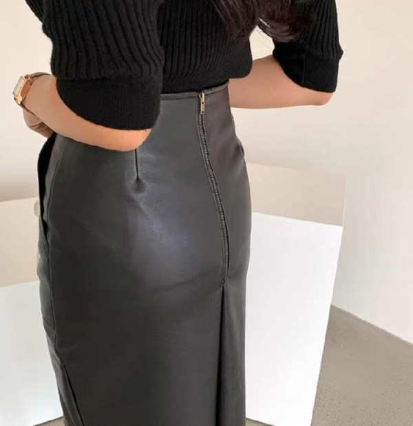 Black Leather Skirt With Front Slit | Hwasa – Mamamoo