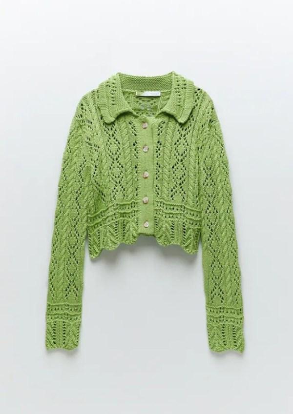 Green Jacquard Mesh Knit Cardigan | Hyuna