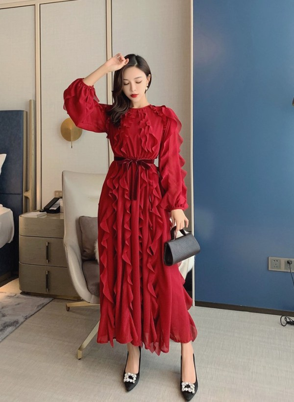 Wine Red Chiffon Dress | IU – Hotel Del Luna