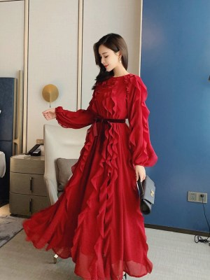 IU – Hotel Del Luna Wine Red Chiffon Dress (12)