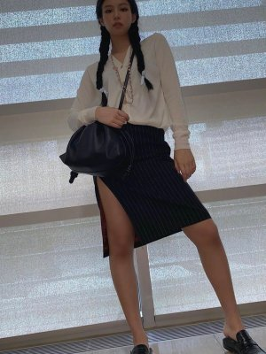 High Slit White Striped Black Skirt | Jennie – BlackPink