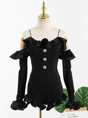 Jennie – BlackPink Black Ruffled Mini Jumpsuit (5)