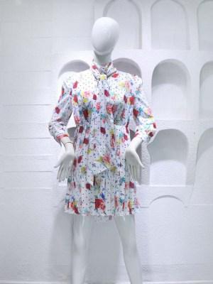 Jennie – BlackPink Floral Pleated Dress (8)