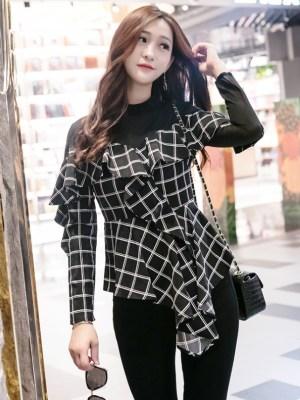 Jeongyeon Black Plaid Mesh Irregular Cut Blouse (8)