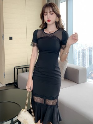 Jihyo- Twice Black Fluted Hem Lace Dress (9)