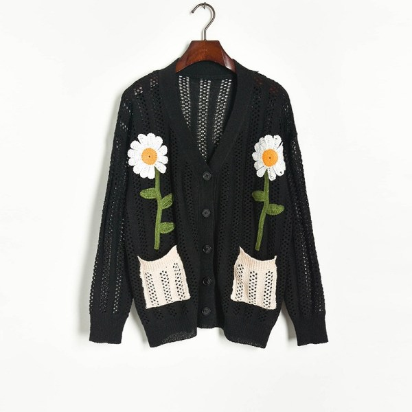 Black Knitted Cardigan With Daisy Embroidery | Momo – Twice