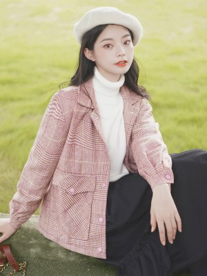 Pink Plaid British Style Woolen Jacket (7)