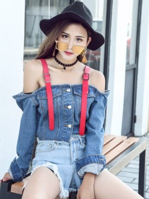Rose Off-Shoulder Denim Style Crop Top (8)