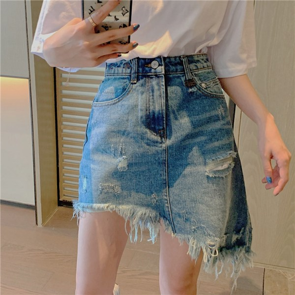 Asymmetrical Distressed Denim Skirt  | Shuhua – (G)I-DLE