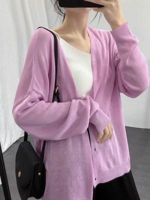 Wheein – Mamamoo Breathable Purple Cardigan (1)