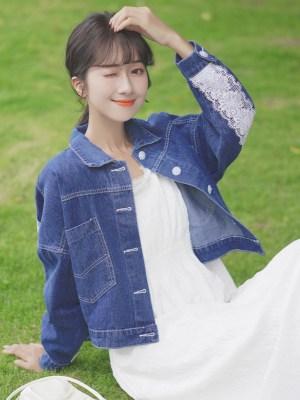 White Laced Sleeves on Denim Jacket (2)