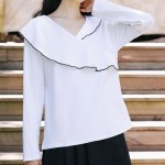 Black Outlined Assymetric Ruffled White Blouse
