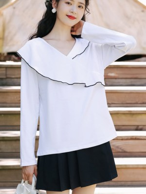 Black Outlined Assymetric Ruffled White Blouse (11)