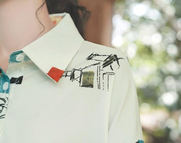 Blue Tone Scenic Printed Shirt