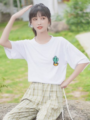 Cactus Patch On White T-Shirt (2)