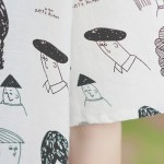 Cartooned People's Faces Print Shirt