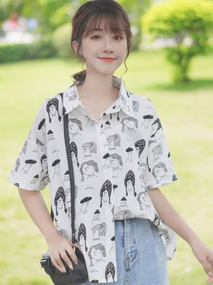 Cartooned People's Faces Print Shirt (3)