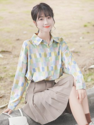 Colorful Mosaic Patterned Shirt (5)