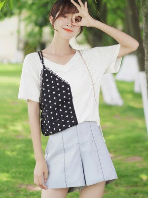 Faux Two-Piece Polka Dots Lace Cami T-shirt