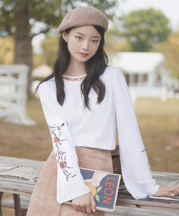Floral Embroidered Sleeves White T-Shirt With Pearl