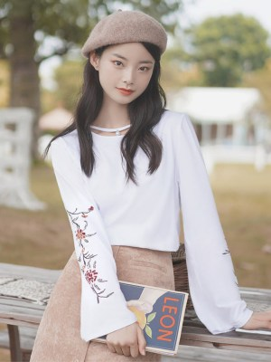Floral Embroidered Sleeves White T-Shirt With Pearl (1)