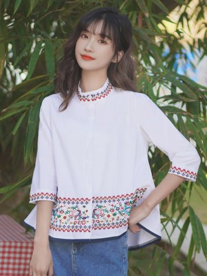 Floral Embroidered Stand Up Collar Shirt