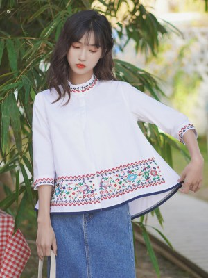 Floral Embroidered Stand Up Collar Shirt (5)