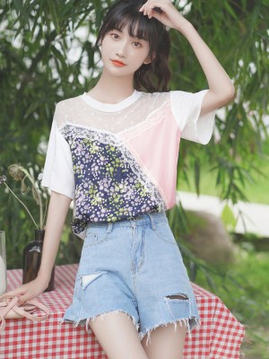 Floral Pink And Lace T-Shirt (2)