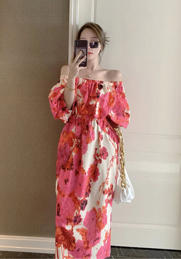 Floral Puffed Sleeve Off-Shoulder Dress   Ko Moon‑Young – It's Okay Not To Be Okay