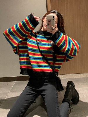 Hyuna – Knitted Rainbow Sweater (1)