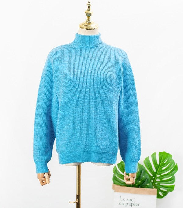Blue High Neck Knitted Sweater | IU