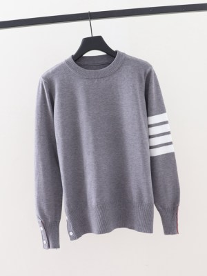 Jin – BTS Grey Sweater With Stripe Detail (6)