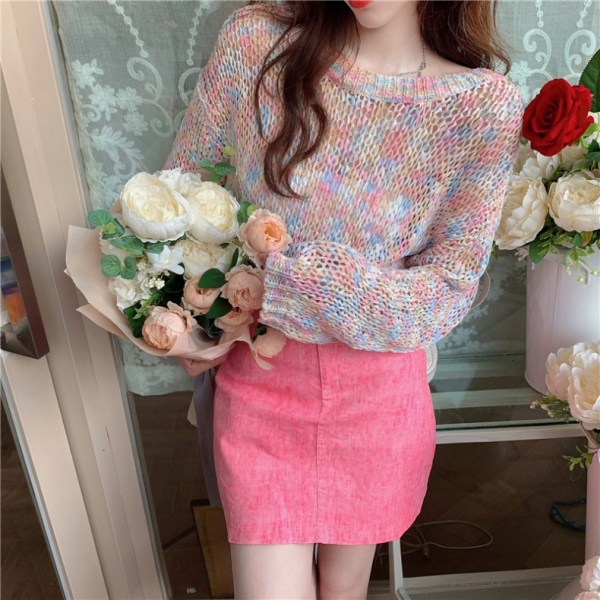 Rainbow Hollow Out Sweater   Joy – Red Velvet