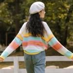 Multicolored Striped Apricot Sweater