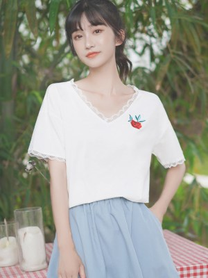 Old Rose V-Neck T-Shirt With Lace Edges (2)