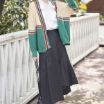 Red And Green Striped Buttoned Cardigan