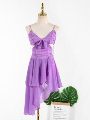 Rose – BlackPink Irregular Hem Purple Dress (17)