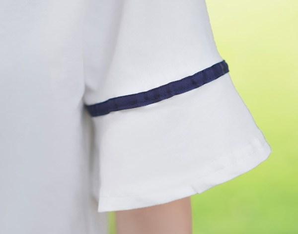Running Blue V Ribbon Blouse