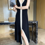 Black and White Long Dress  Seulgi – Red Velvet