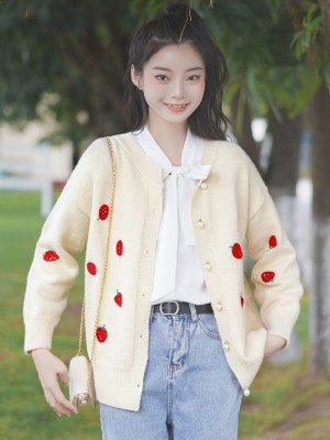 Strawberries Patterned Apricot Cardigan (7)